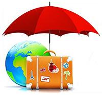 Зонт, глобус, чемодан
