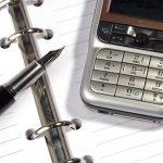 Телефон, ручка, блокнот