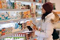Женщина, продукты, магазин