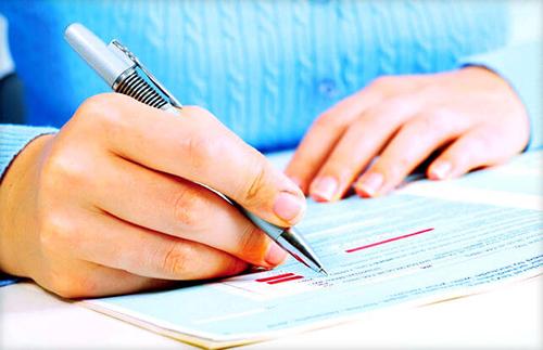 Женщина, ручка, документ