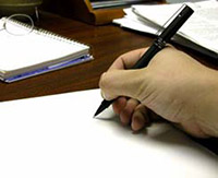 Лист бумаги, ручка