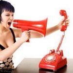 Женщина, рупор, телефон