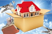 Дом в коробке, ключи, деньги