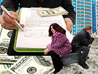 Дом, мужчина, женщина, ручка, договор, деньги