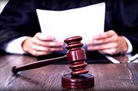 Судья, документы, судейский молоток