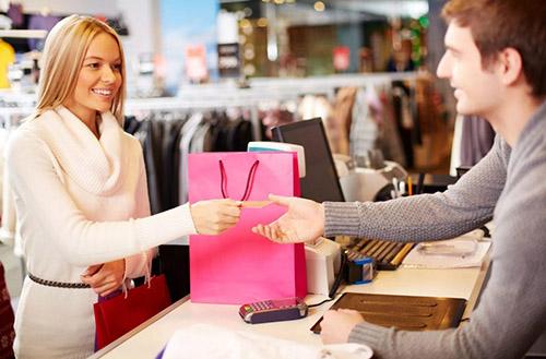 Женщина, мужчина, магазин, пакет