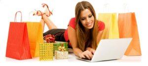 девушка, покупки, ноутбук